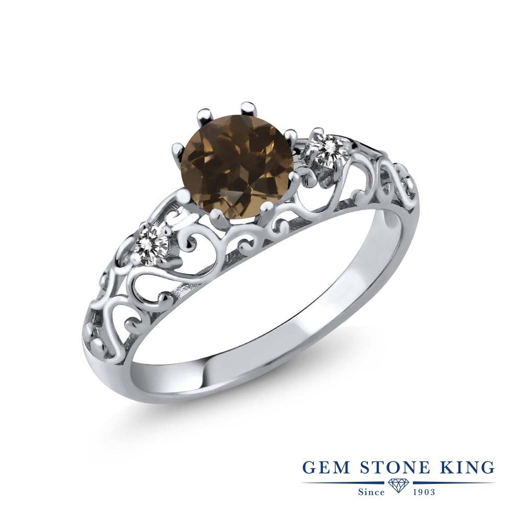 Gem Stone King 0.92カラット 天然 スモーキークォーツ (ブラウン) 天然 ダイヤモンド シルバー925 指輪 リング レディース シンプル ダブルストーン 天然石 金属アレルギー対応 誕生日プレゼント