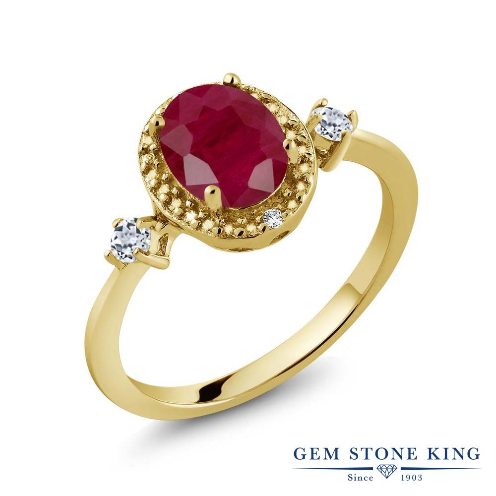 Gem Stone King 1.77カラット 天然 ルビー 天然 トパーズ (無色透明) 天然 ダイヤモンド シルバー925 イエローゴールドコーティング 指輪 リング レディース 大粒 ヘイロー 天然石 7月 誕生石 金属アレルギー対応 誕生日プレゼント