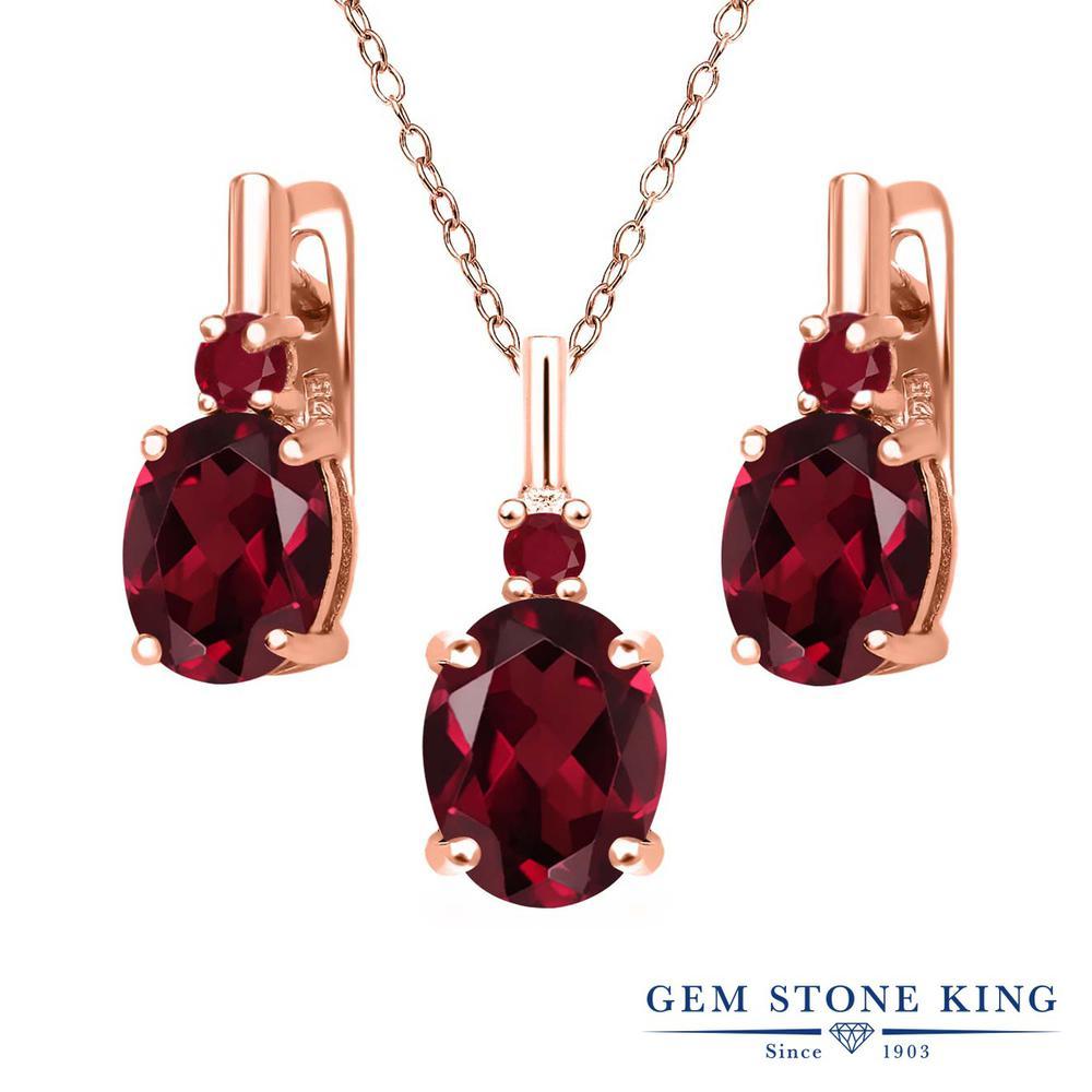 Gem Stone King 6.72カラット 天然ロードライトガーネット 天然ルビー シルバー 925 ローズゴールドコーティング ペンダント&ピアスセット レディース 大粒 天然石 誕生日プレゼント