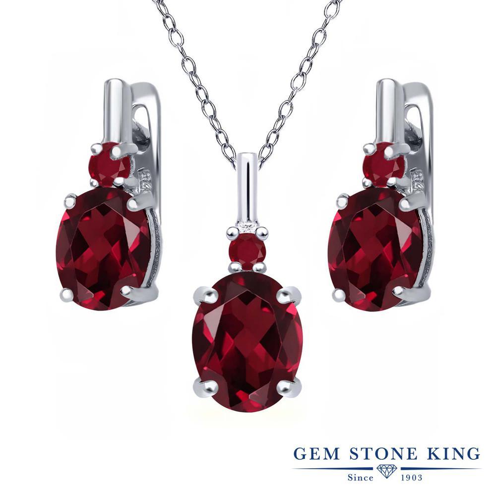 Gem Stone King 6.72カラット 天然ロードライトガーネット 天然ルビー シルバー925 ペンダント&ピアスセット レディース 大粒 天然石 誕生日プレゼント