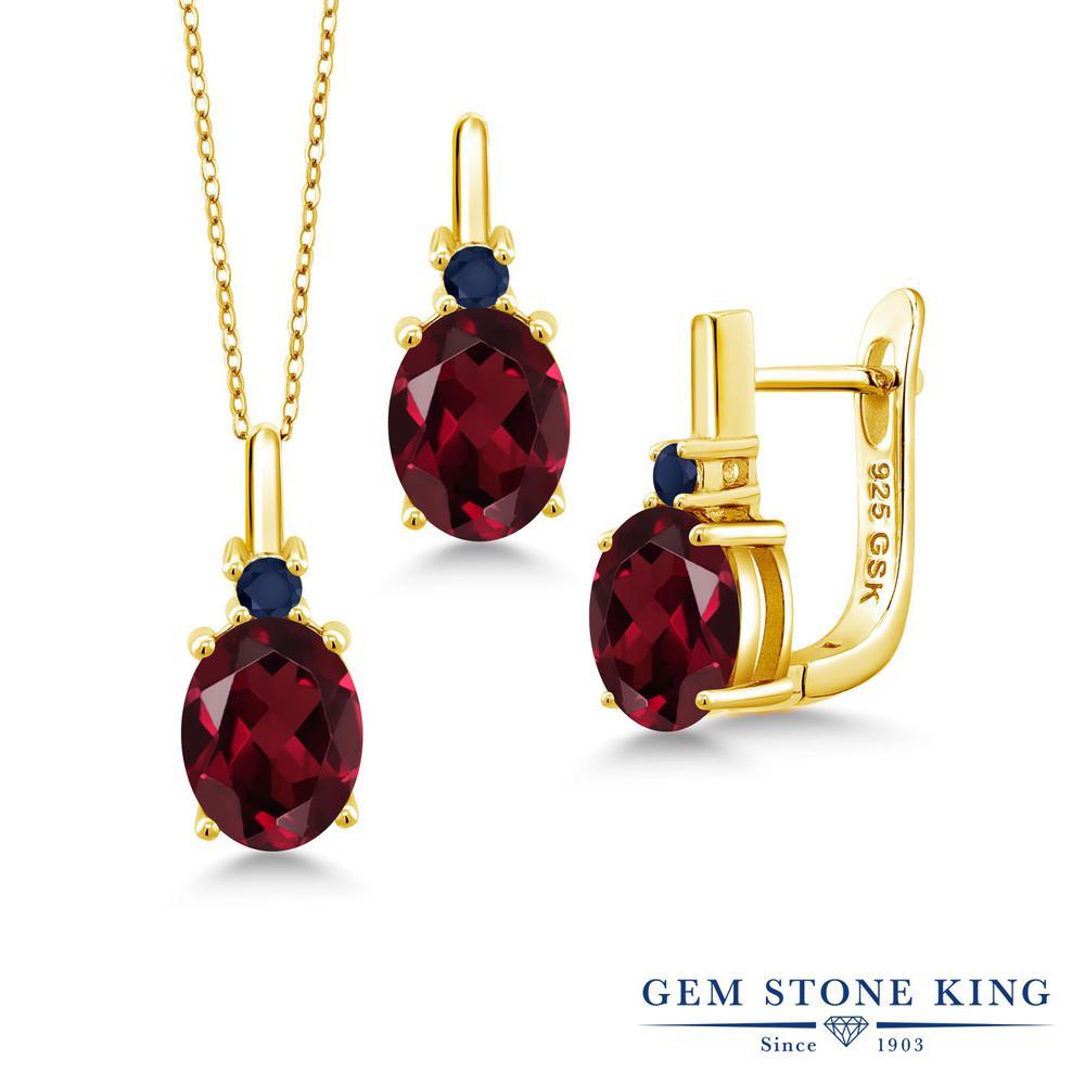 Gem Stone King 6.68カラット 天然ロードライトガーネット 天然サファイア シルバー 925 イエローゴールドコーティング ペンダント&ピアスセット レディース 大粒 天然石 誕生日プレゼント