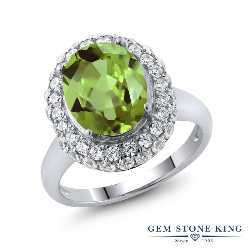 Gem Stone King 5.01カラット 天然石 ペリドット シルバー925 指輪 リング レディース 大粒 大ぶり 天然石 8月 誕生石 金属アレルギー対応 誕生日プレゼント