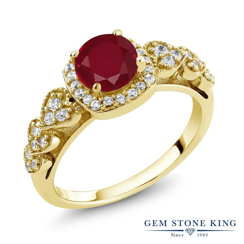 Gem Stone King 1.32カラット 天然 ルビー シルバー925 イエローゴールドコーティング 指輪 リング レディース 大粒 クラスター 天然石 7月 誕生石 金属アレルギー対応 誕生日プレゼント