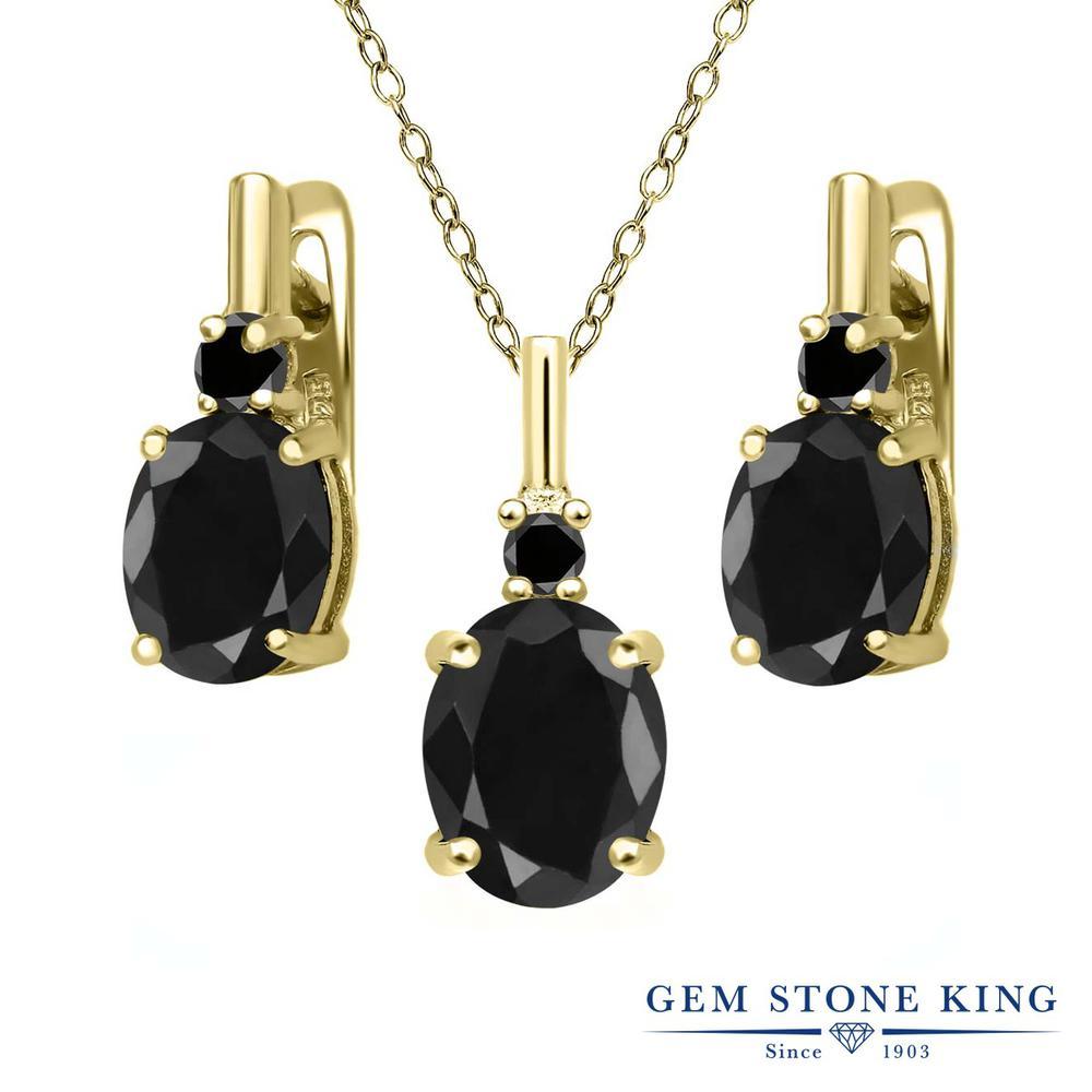 Gem Stone King 7.69カラット 天然サファイア(ブラック) シルバー 925 イエローゴールドコーティング 天然ブラックダイヤモンド ペンダント&ピアスセット レディース 大粒 天然石 誕生石 誕生日プレゼント