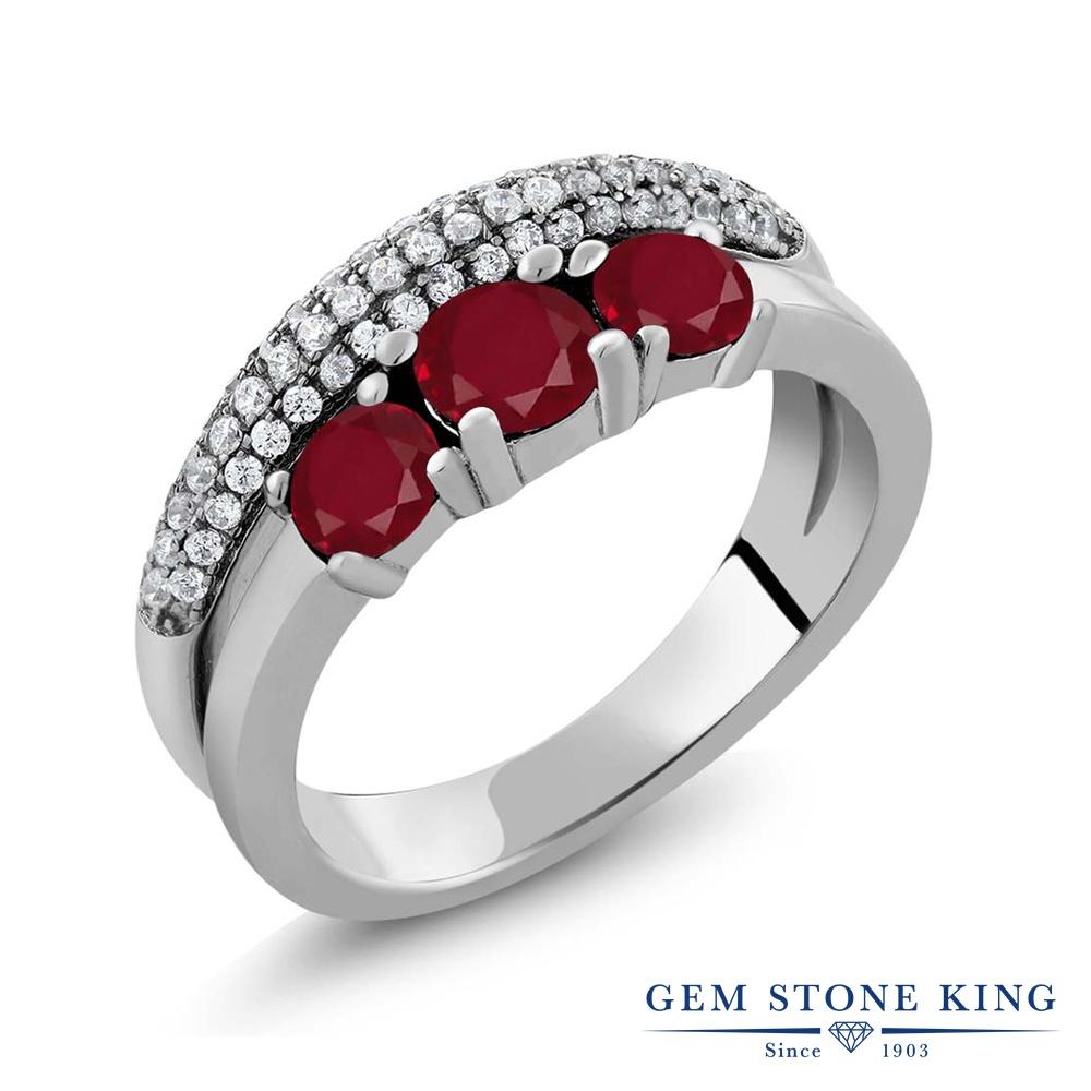 【10%OFF】 Gem Stone King 1.86カラット 天然 ルビー 指輪 リング レディース シルバー925 スリーストーン 天然石 7月 誕生石 クリスマスプレゼント 女性 彼女 妻 誕生日