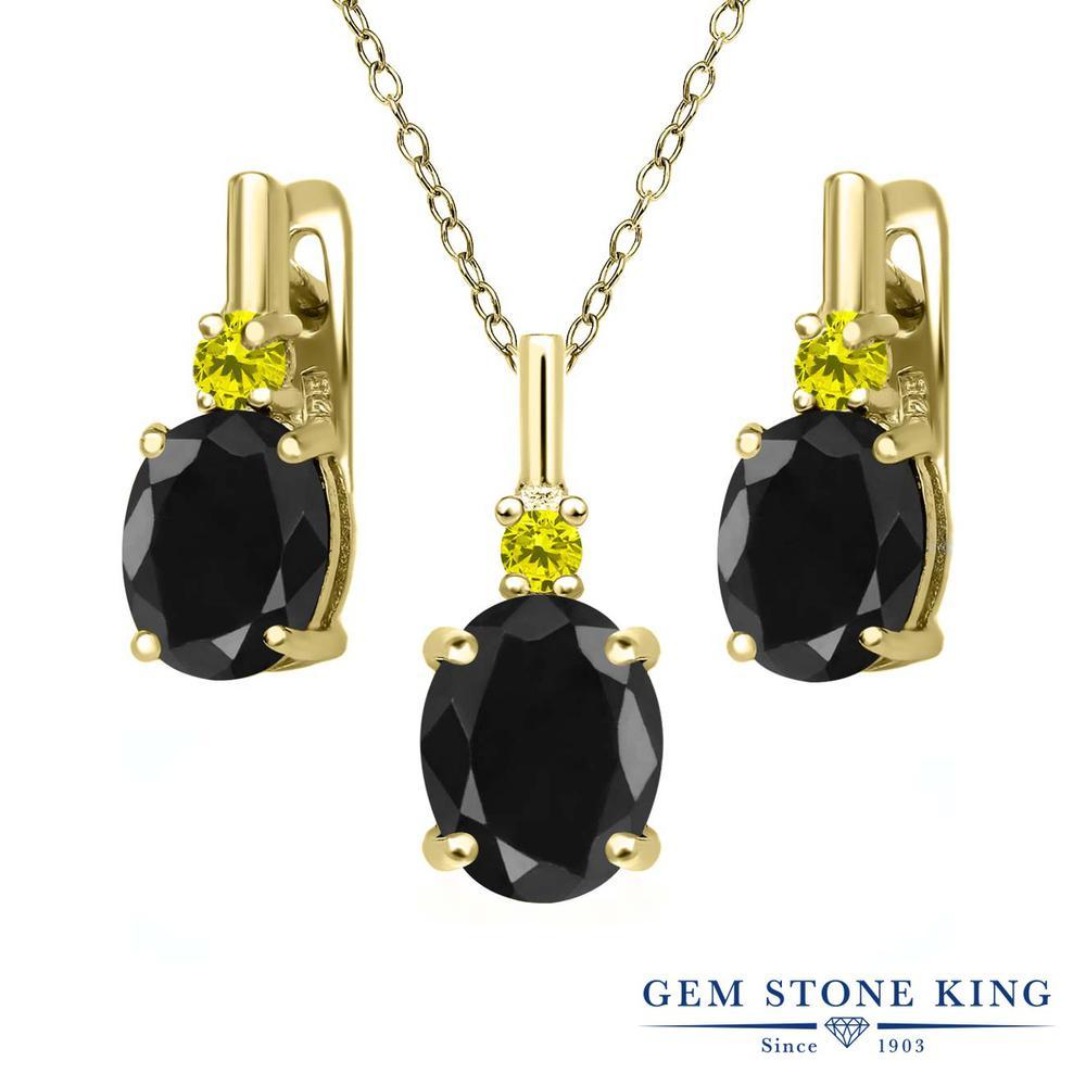 Gem Stone King 7.69カラット 天然サファイア(ブラック) シルバー 925 イエローゴールドコーティング 天然イエローダイヤモンド ペンダント&ピアスセット レディース 大粒 天然石 誕生石 誕生日プレゼント