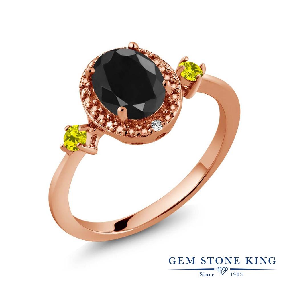 【10%OFF】 Gem Stone King 1.8カラット 天然 ブラックサファイア イエローダイヤモンド 指輪 リング レディース シルバー925 ピンクゴールド 加工 大粒 ヘイロー 天然石 9月 誕生石 クリスマスプレゼント 女性 彼女 妻 誕生日