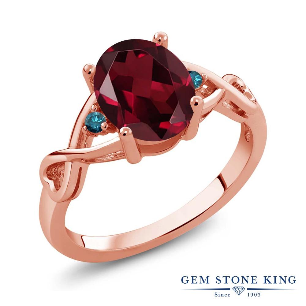 Gem Stone King 2.06カラット 天然 ロードライトガーネット 天然 ブルーダイヤモンド シルバー925 ピンクゴールドコーティング 指輪 リング レディース 大粒 シンプル ソリティア 天然石 金属アレルギー対応 誕生日プレゼント