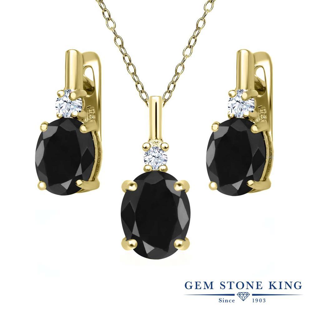 Gem Stone King 7.70カラット 天然サファイア(ブラック) 天然トパーズ(無色透明) シルバー 925 イエローゴールドコーティング ペンダント&ピアスセット レディース 大粒 天然石 誕生石 誕生日プレゼント