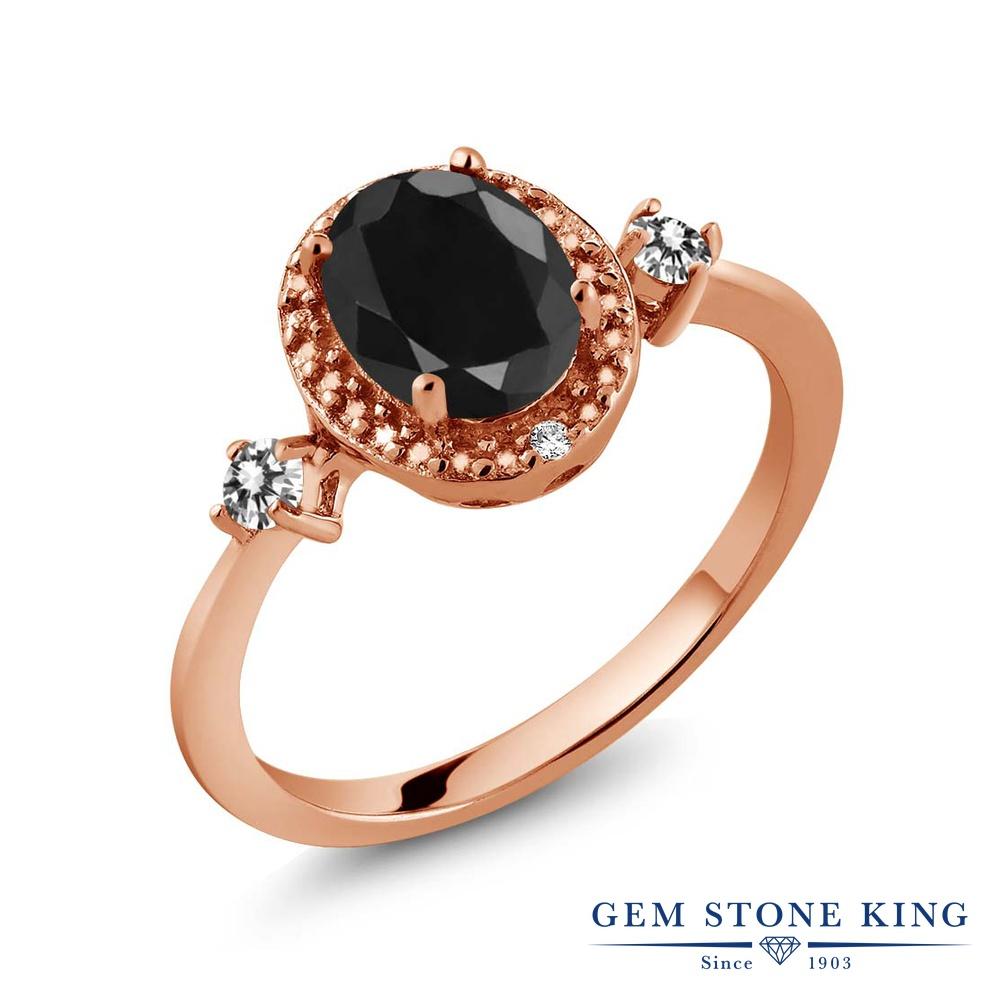 【10%OFF】 Gem Stone King 1.8カラット 天然 ブラックサファイア ダイヤモンド 指輪 リング レディース シルバー925 ピンクゴールド 加工 大粒 ヘイロー 天然石 9月 誕生石 クリスマスプレゼント 女性 彼女 妻 誕生日