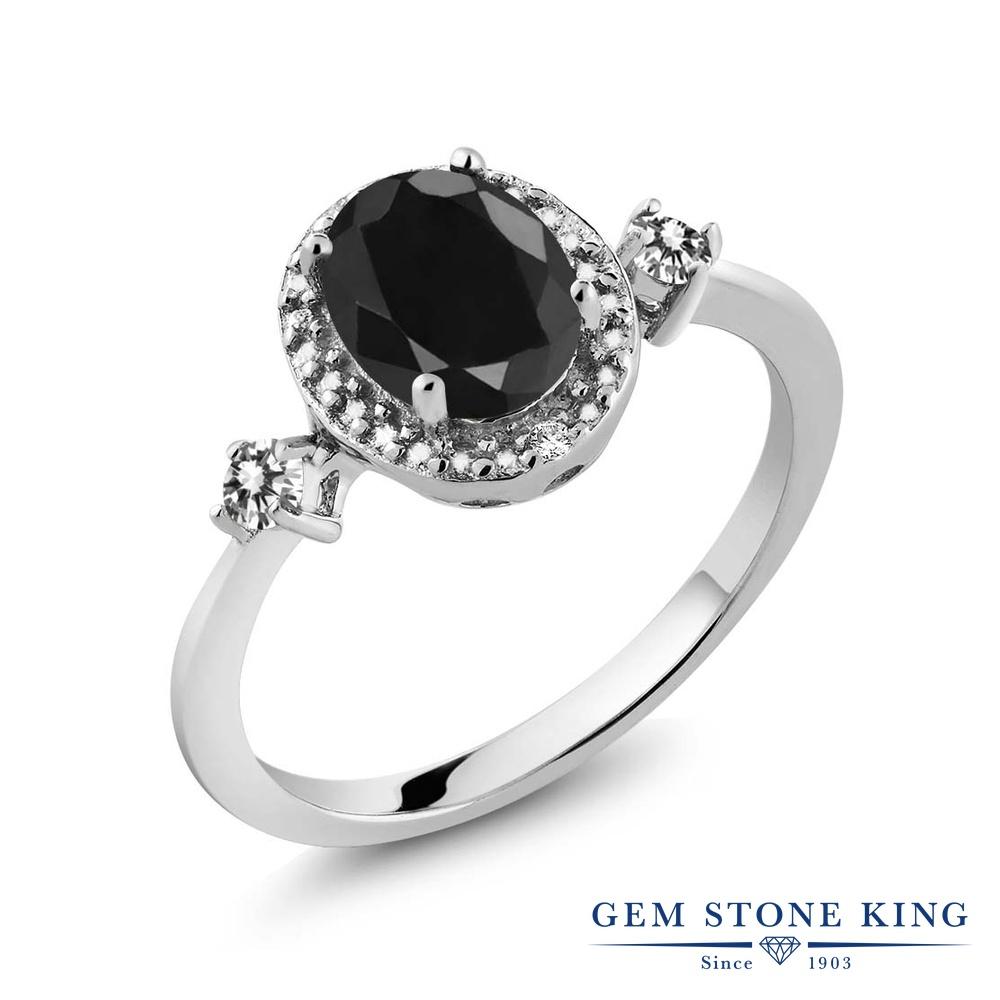 Gem Stone King 1.8カラット 天然 ブラックサファイア 天然 ダイヤモンド シルバー925 指輪 リング レディース 大粒 ヘイロー 天然石 9月 誕生石 金属アレルギー対応 誕生日プレゼント