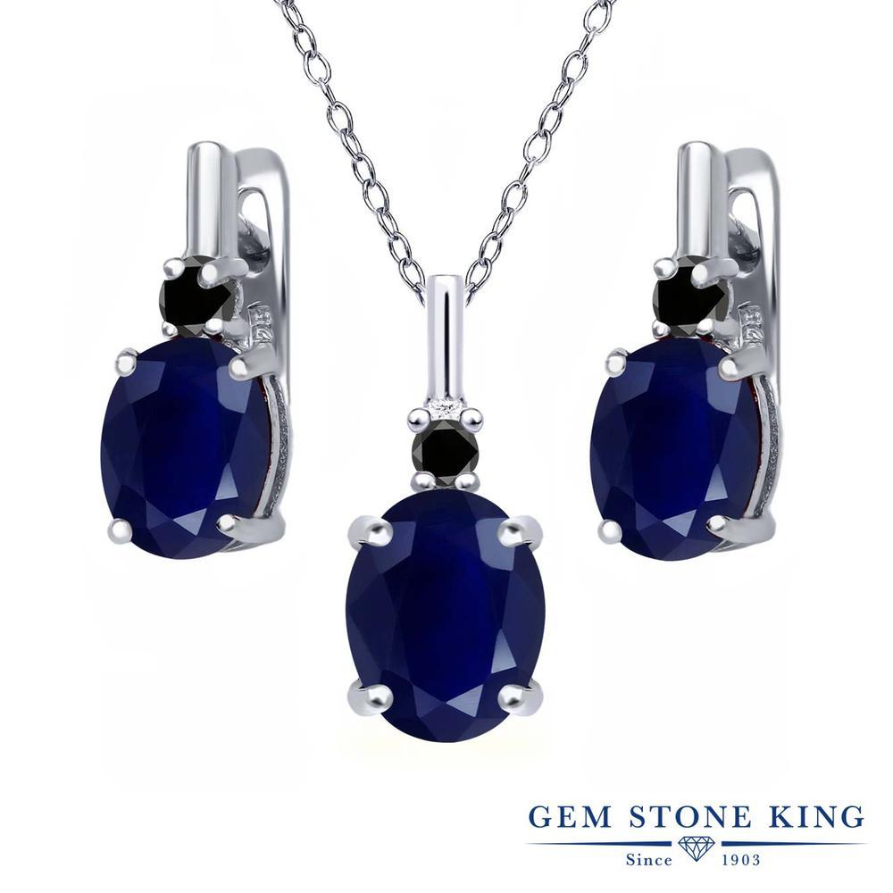 Gem Stone King 7.57カラット 天然サファイア シルバー925 天然ブラックダイヤモンド ペンダント&ピアスセット レディース 大粒 天然石 誕生石 誕生日プレゼント