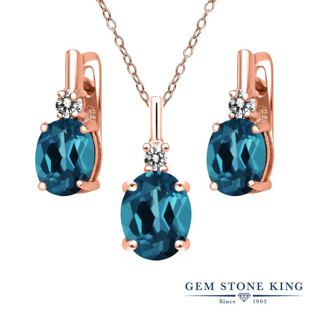 Gem Stone King 5.47カラット 天然トパーズ(ロンドンブルー) シルバー 925 ローズゴールドコーティング 天然ダイヤモンド ペンダント&ピアスセット レディース 大粒 天然石 誕生石 誕生日プレゼント