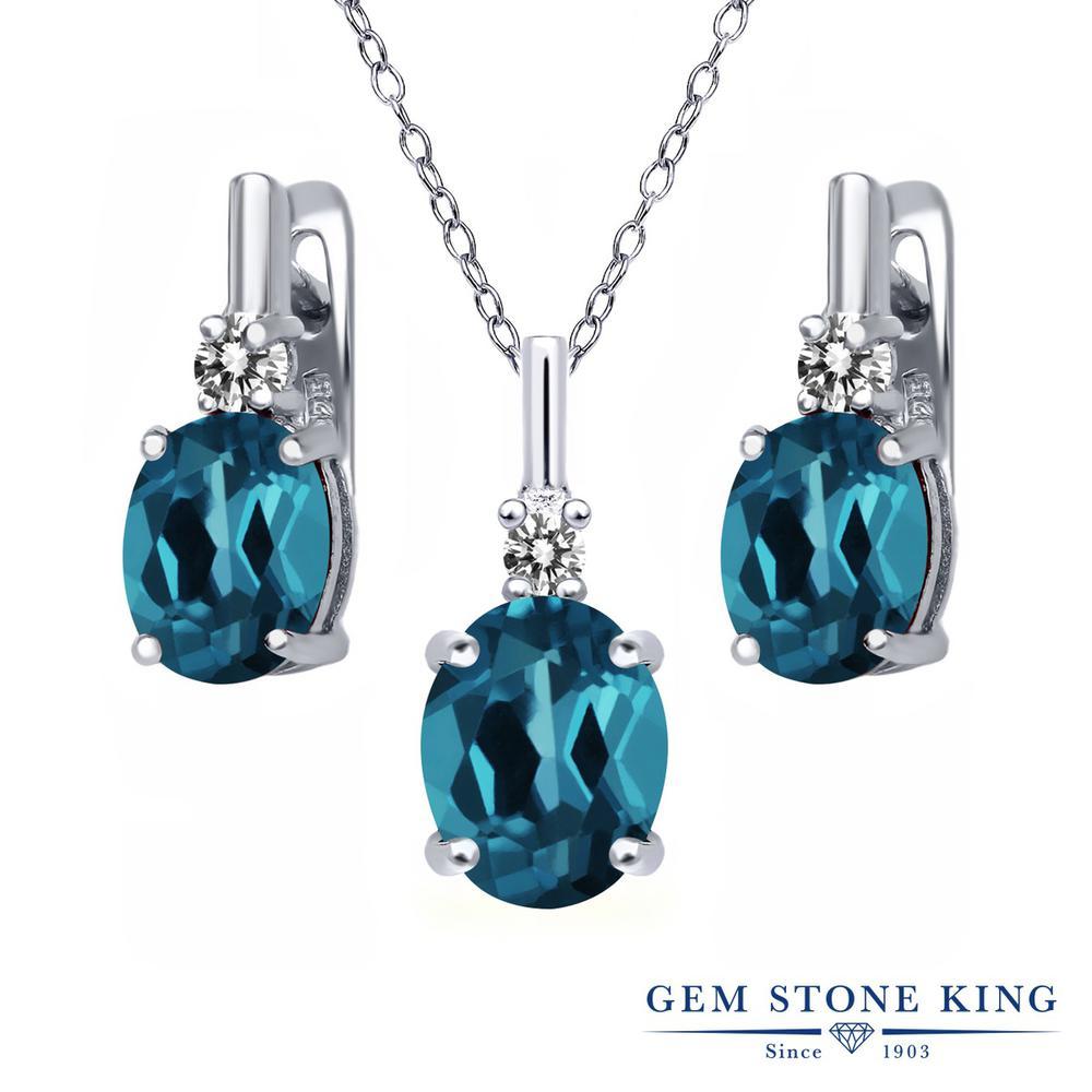 Gem Stone King 5.47カラット 天然トパーズ(ロンドンブルー) シルバー925 天然ダイヤモンド ペンダント&ピアスセット レディース 大粒 天然石 誕生石 誕生日プレゼント