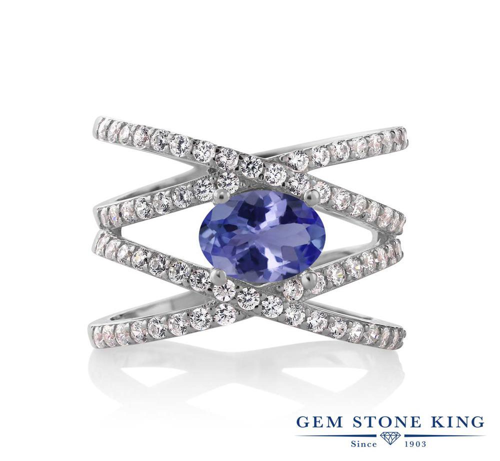 【10%OFF】 Gem Stone King 2.09カラット 天然石 タンザナイト 指輪 リング レディース シルバー925 大粒 クロスオーバー 12月 誕生石 クリスマスプレゼント 女性 彼女 妻 誕生日