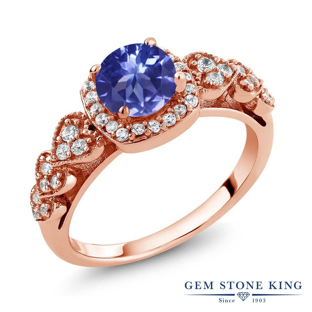 Gem Stone King 1.22カラット シルバー925 ピンクゴールドコーティング 指輪 リング レディース クラスター 天然石 金属アレルギー対応 誕生日プレゼント
