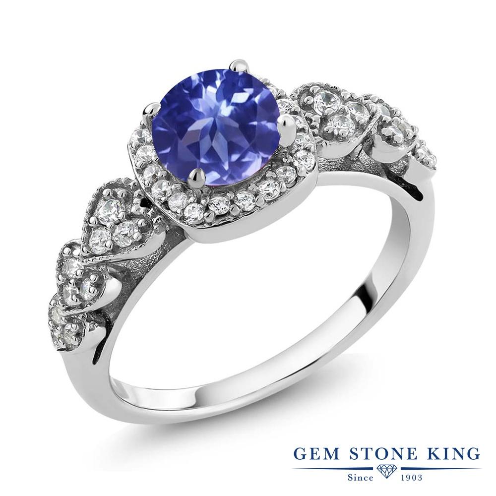 Gem Stone King 1.22カラット シルバー925 指輪 リング レディース クラスター 天然石 金属アレルギー対応 誕生日プレゼント