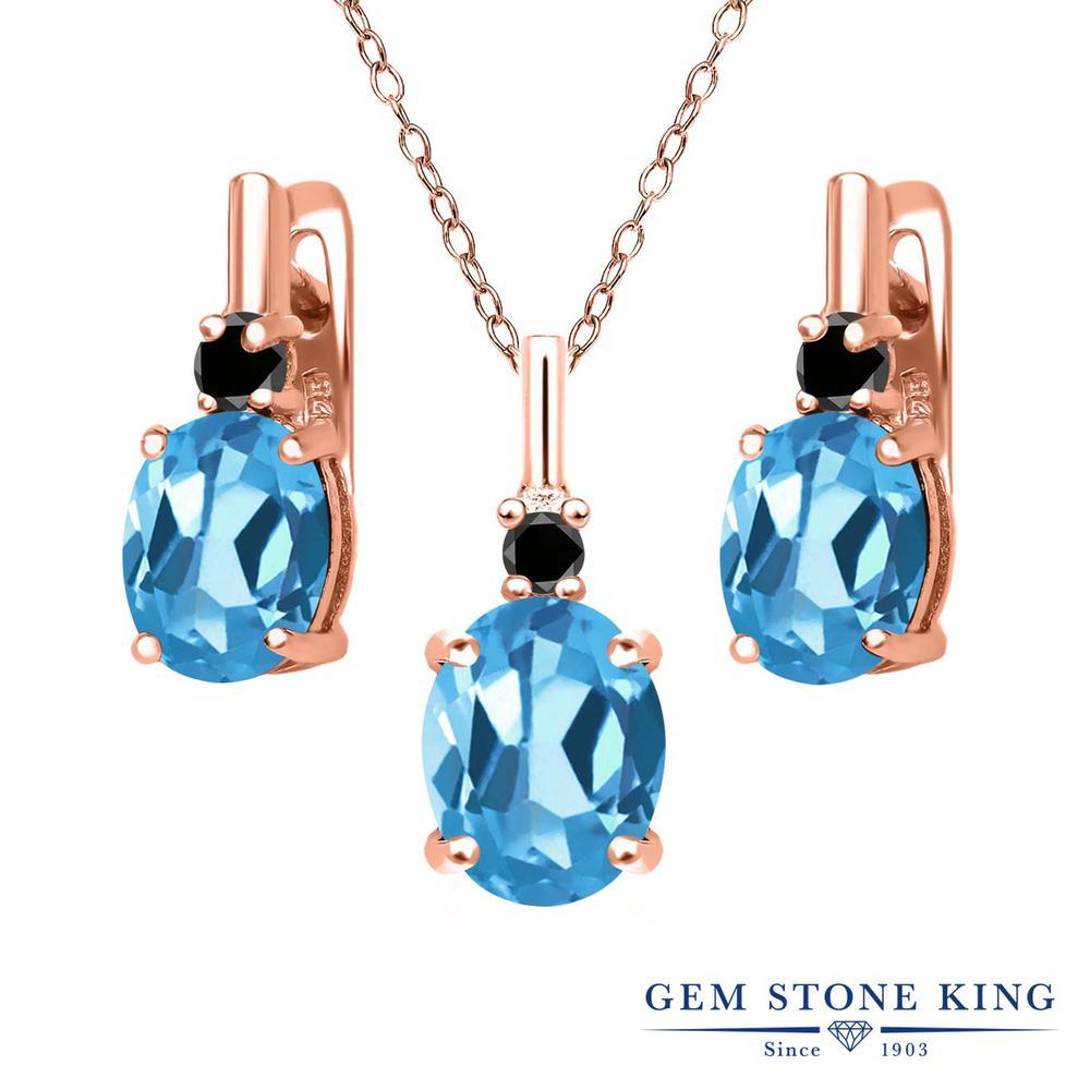 Gem Stone King 6.67カラット 天然トパーズ(スイスブルー) シルバー 925 ローズゴールドコーティング 天然ブラックダイヤモンド ペンダント&ピアスセット レディース 大粒 天然石 誕生石 誕生日プレゼント
