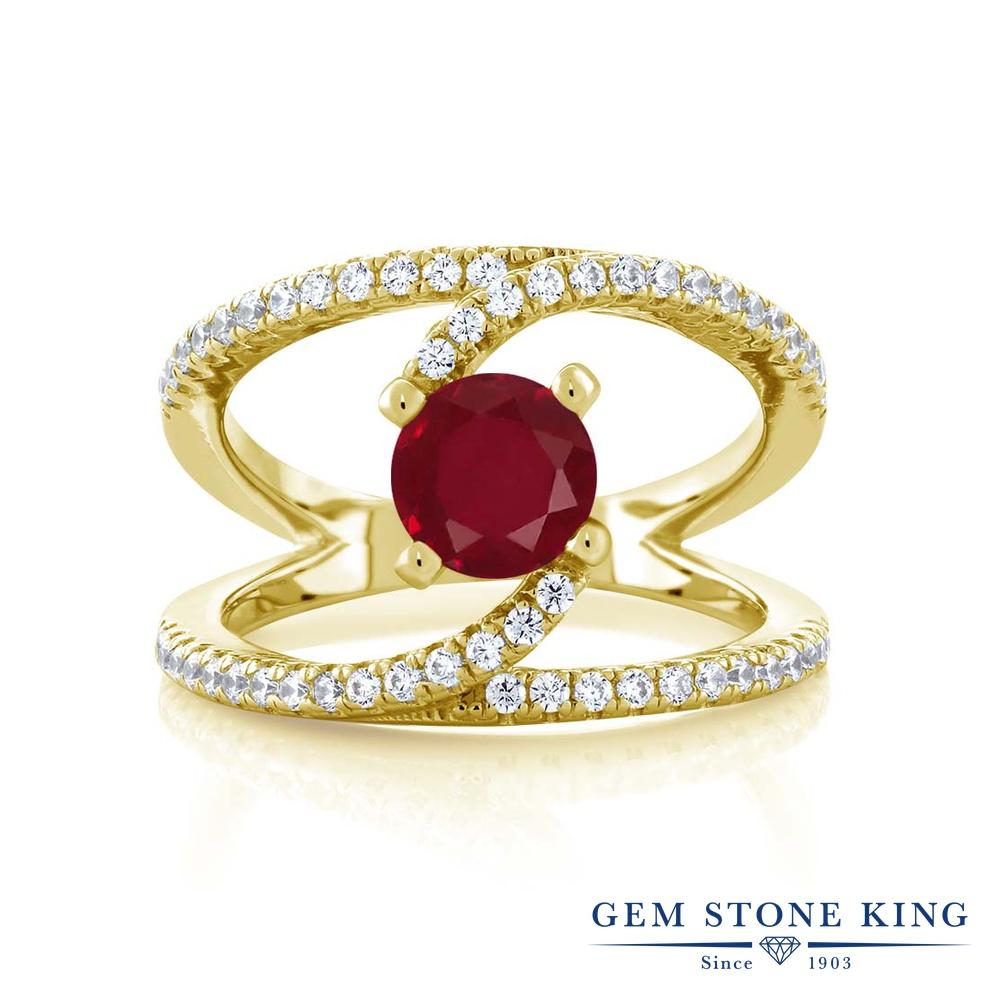 Gem Stone King 1.58カラット 天然 ルビー シルバー925 イエローゴールドコーティング 指輪 リング レディース 大粒 カクテル 天然石 7月 誕生石 金属アレルギー対応 誕生日プレゼント