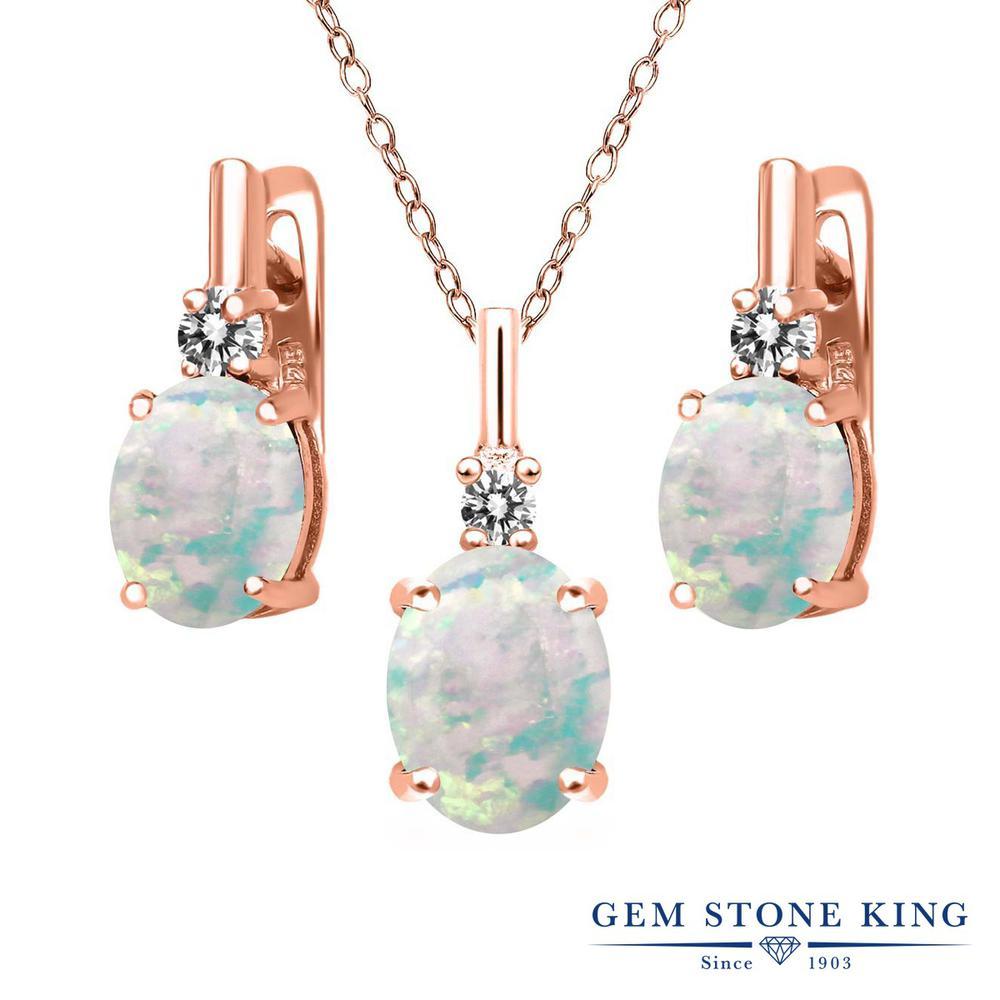 Gem Stone King 4.87カラット シミュレイテッドホワイトオパール シルバー 925 ローズゴールドコーティング 天然ダイヤモンド ペンダント&ピアスセット レディース 大粒 誕生石 誕生日プレゼント