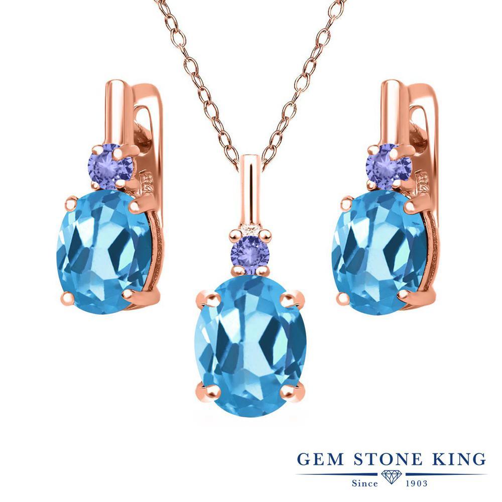 Gem Stone King 6.68カラット 天然トパーズ(スイスブルー) 天然石 タンザナイト シルバー 925 ローズゴールドコーティング ペンダント&ピアスセット レディース 大粒 天然石 誕生石 誕生日プレゼント