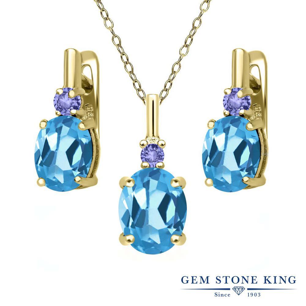Gem Stone King 6.68カラット 天然トパーズ(スイスブルー) 天然石 タンザナイト シルバー 925 イエローゴールドコーティング ペンダント&ピアスセット レディース 大粒 天然石 誕生石 誕生日プレゼント