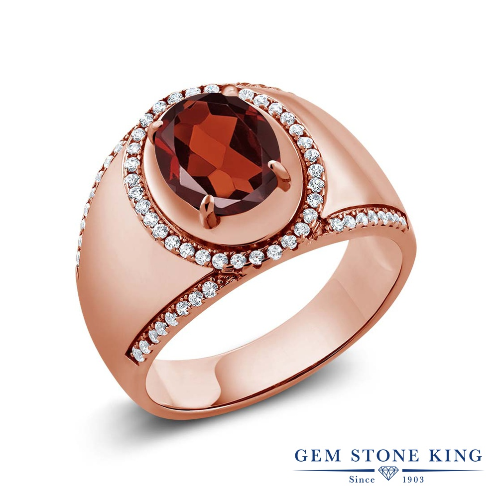 Gem Stone King 3.29カラット 天然 ガーネット 指輪 リング レディース シルバー925 ピンクゴールド 加工 大粒 大ぶり ヘイロー 天然石 1月 誕生石 金属アレルギー対応