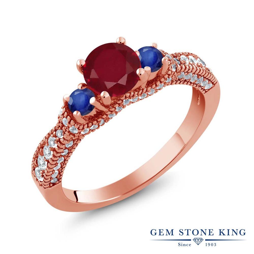 Gem Stone King 1.8カラット 天然 ルビー 天然 サファイア シルバー925 ピンクゴールドコーティング 指輪 リング レディース スリーストーン 天然石 7月 誕生石 金属アレルギー対応 誕生日プレゼント