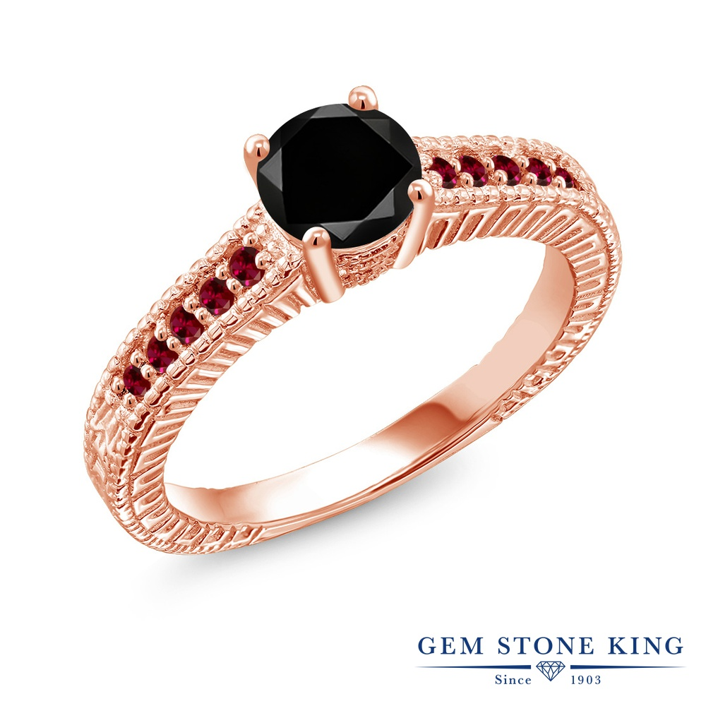 Gem Stone King 1.2カラット 天然ブラックダイヤモンド 合成ルビー シルバー 925 ローズゴールドコーティング 指輪 リング レディース 大粒 天然石 誕生石 誕生日プレゼント