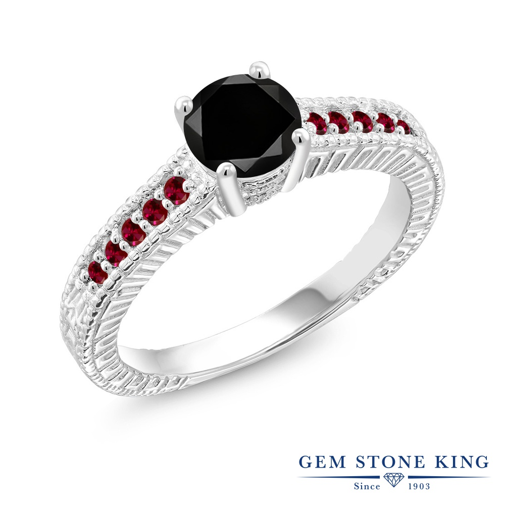 Gem Stone King 1.2カラット 天然ブラックダイヤモンド 合成ルビー シルバー925 指輪 リング レディース ブラック ダイヤ 大粒 マルチストーン 天然石 4月 誕生石 金属アレルギー対応 誕生日プレゼント