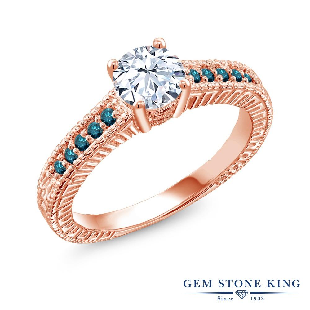 Gem Stone King 1.37カラット 合成ホワイトサファイア (ダイヤのような無色透明) 天然 ブルーダイヤモンド シルバー925 ピンクゴールドコーティング 指輪 リング レディース 大粒 マルチストーン 金属アレルギー対応 誕生日プレゼント