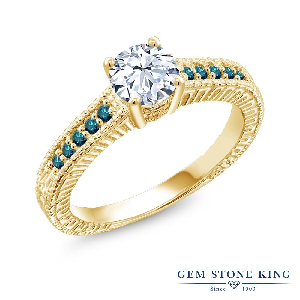 【10%OFF】 Gem Stone King 1.37カラット 合成ホワイトサファイア (ダイヤのような無色透明) 天然 ブルーダイヤモンド 指輪 リング レディース シルバー925 イエローゴールド 加工 大粒 マルチストーン クリスマスプレゼント 女性 彼女 妻 誕生日