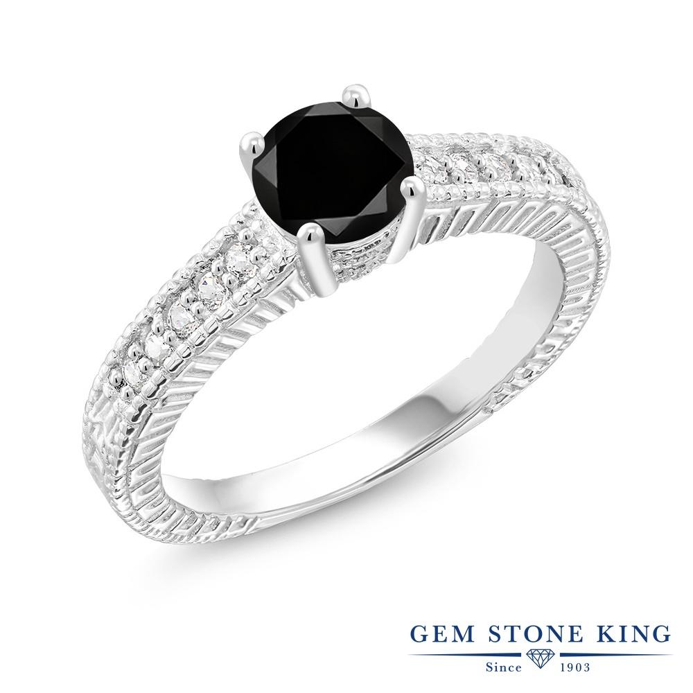 Gem Stone King 1.2カラット 天然ブラックダイヤモンド 合成ホワイトサファイア (ダイヤのような無色透明) シルバー925 指輪 リング レディース ブラック ダイヤ 大粒 マルチストーン 天然石 4月 誕生石 金属アレルギー対応 誕生日プレゼント