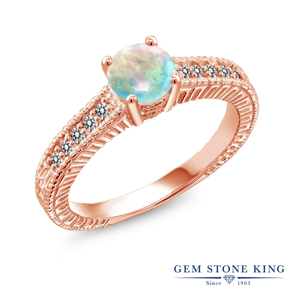 【10%OFF】 Gem Stone King 0.92カラット シミュレイテッド ホワイトオパール 天然 ダイヤモンド 指輪 リング レディース シルバー925 ピンクゴールド 加工 マルチストーン 10月 誕生石 クリスマスプレゼント 女性 彼女 妻 誕生日