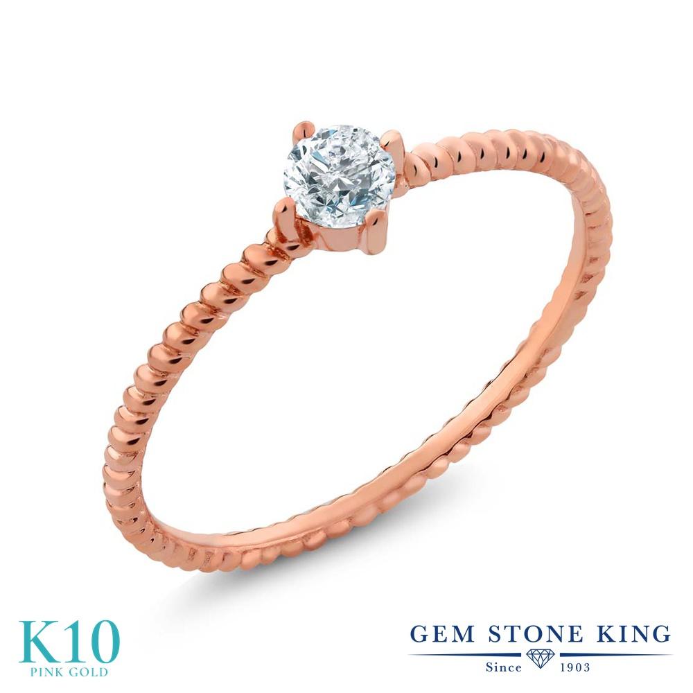 Gem Stone King 0.15カラット 天然 ダイヤモンド 10金 ピンクゴールド(K10) 指輪 リング レディース ダイヤ 小粒 一粒 シンプル ソリティア 華奢 細身 天然石 4月 誕生石 金属アレルギー対応 婚約指輪 エンゲージリング