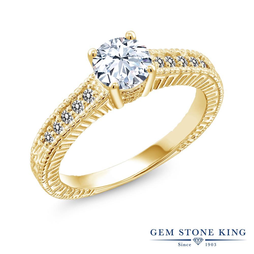 【10%OFF】 Gem Stone King 1.37カラット 合成ホワイトサファイア (ダイヤのような無色透明) 天然 ダイヤモンド 指輪 リング レディース シルバー925 イエローゴールド 加工 大粒 マルチストーン クリスマスプレゼント 女性 彼女 妻 誕生日