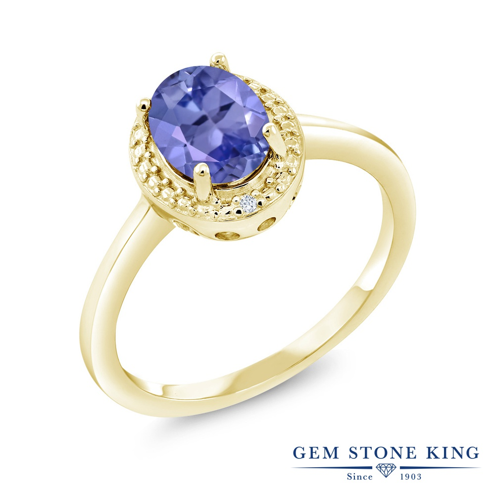 【10%OFF】 Gem Stone King 1.17カラット 天然石 タンザナイト 天然 ダイヤモンド 指輪 リング レディース シルバー925 イエローゴールド 加工 大粒 シンプル ソリティア 12月 誕生石 クリスマスプレゼント 女性 彼女 妻 誕生日