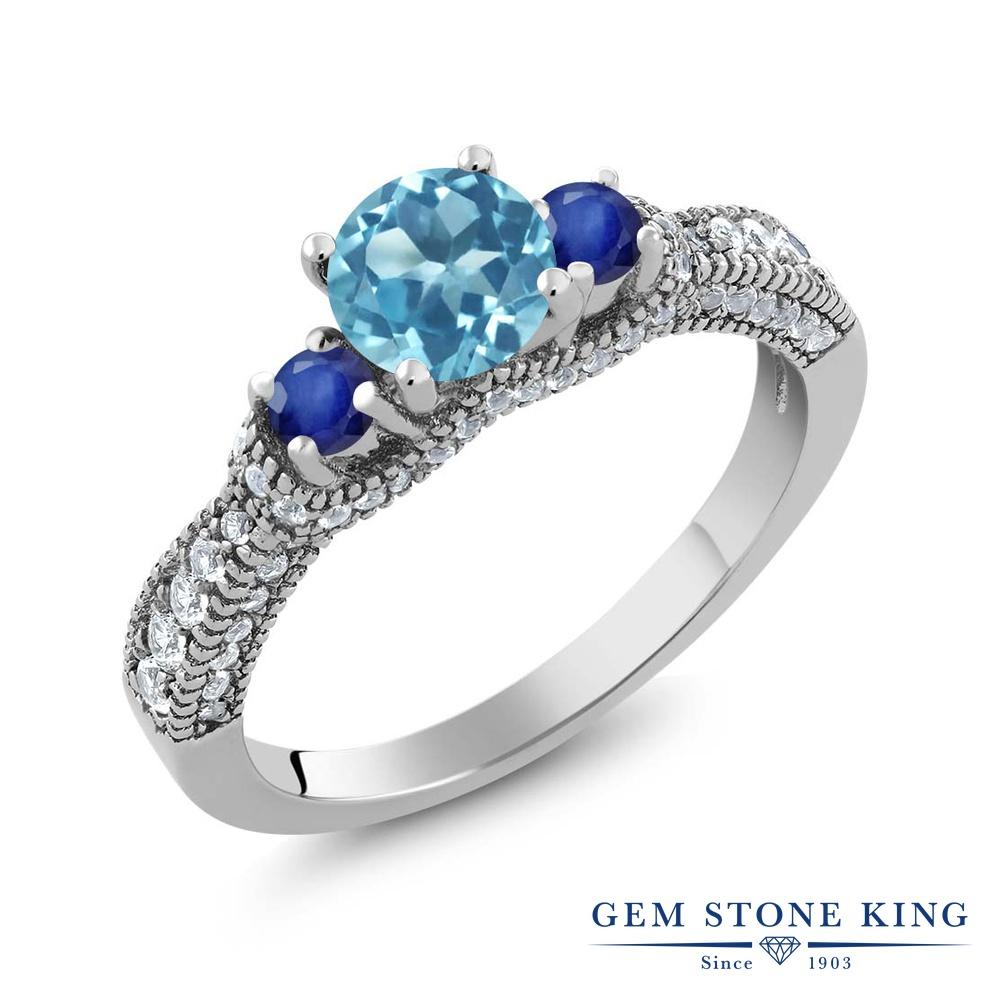 Gem Stone King 1.8カラット 天然 スイスブルートパーズ サファイア 指輪 リング レディース シルバー925 スリーストーン 天然石 11月 誕生石 金属アレルギー対応