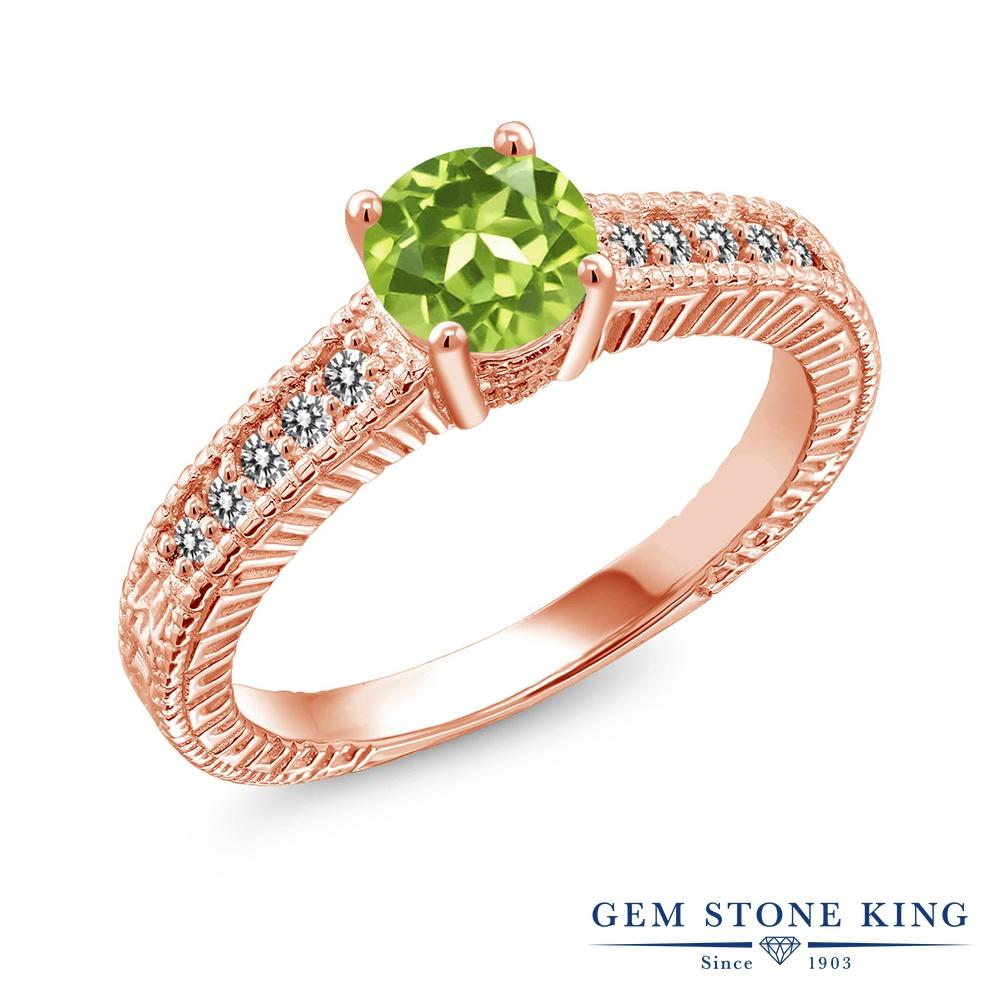 【10%OFF】 Gem Stone King 1.02カラット 天然石 ペリドット 天然 ダイヤモンド 指輪 リング レディース シルバー925 ピンクゴールド 加工 マルチストーン 8月 誕生石 クリスマスプレゼント 女性 彼女 妻 誕生日