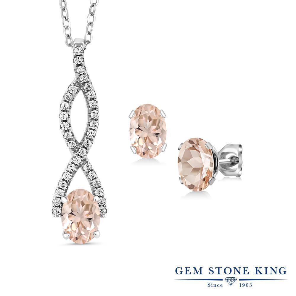 Gem Stone King 2.33カラット 天然 モルガナイト (ピーチ) シルバー925 ペンダント&ピアスセット レディース 天然石 3月 誕生石 金属アレルギー対応 誕生日プレゼント