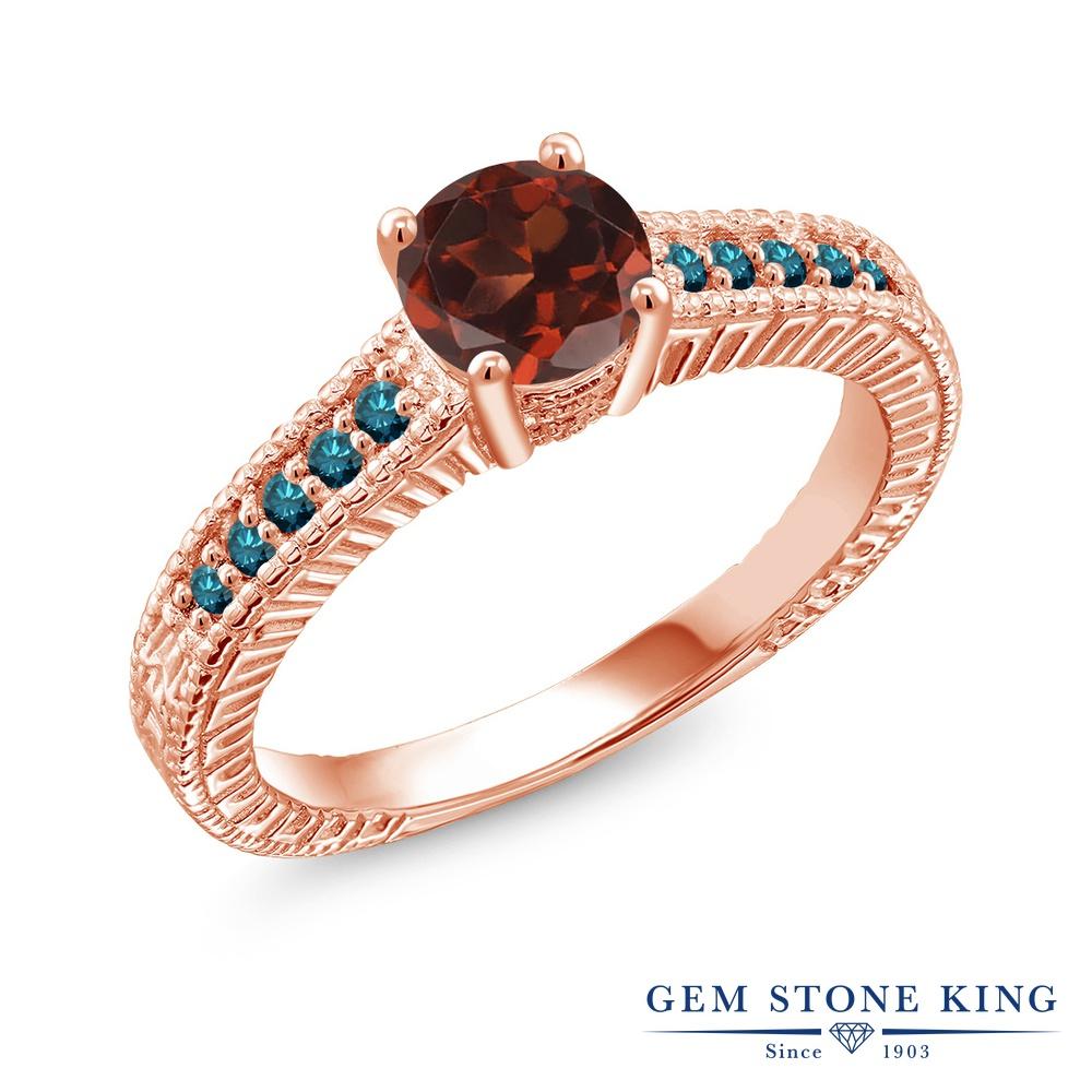 Gem Stone King 1.17カラット 天然 ガーネット 天然 ブルーダイヤモンド シルバー925 ピンクゴールドコーティング 指輪 リング レディース 大粒 マルチストーン 天然石 1月 誕生石 金属アレルギー対応 誕生日プレゼント