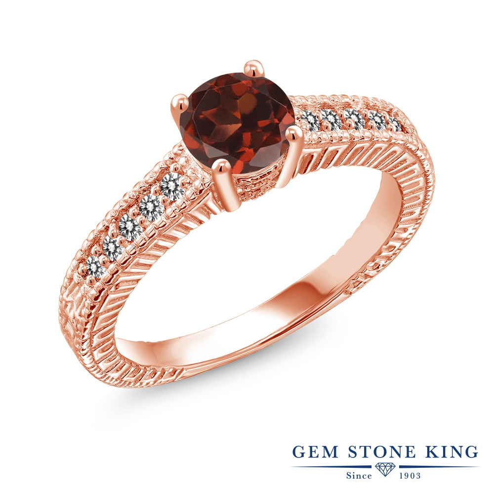 Gem Stone King 1.17カラット 天然 ガーネット 天然 ダイヤモンド シルバー925 ピンクゴールドコーティング 指輪 リング レディース 大粒 マルチストーン 天然石 1月 誕生石 金属アレルギー対応 誕生日プレゼント
