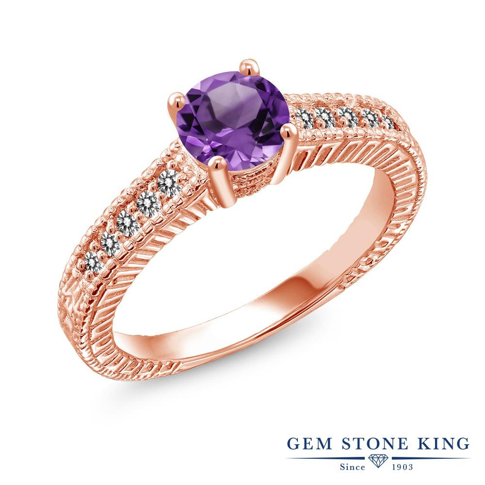【10%OFF】 Gem Stone King 0.87カラット 天然 アメジスト ダイヤモンド 指輪 リング レディース シルバー925 ピンクゴールド 加工 アメシスト マルチストーン 天然石 2月 誕生石 クリスマスプレゼント 女性 彼女 妻 誕生日
