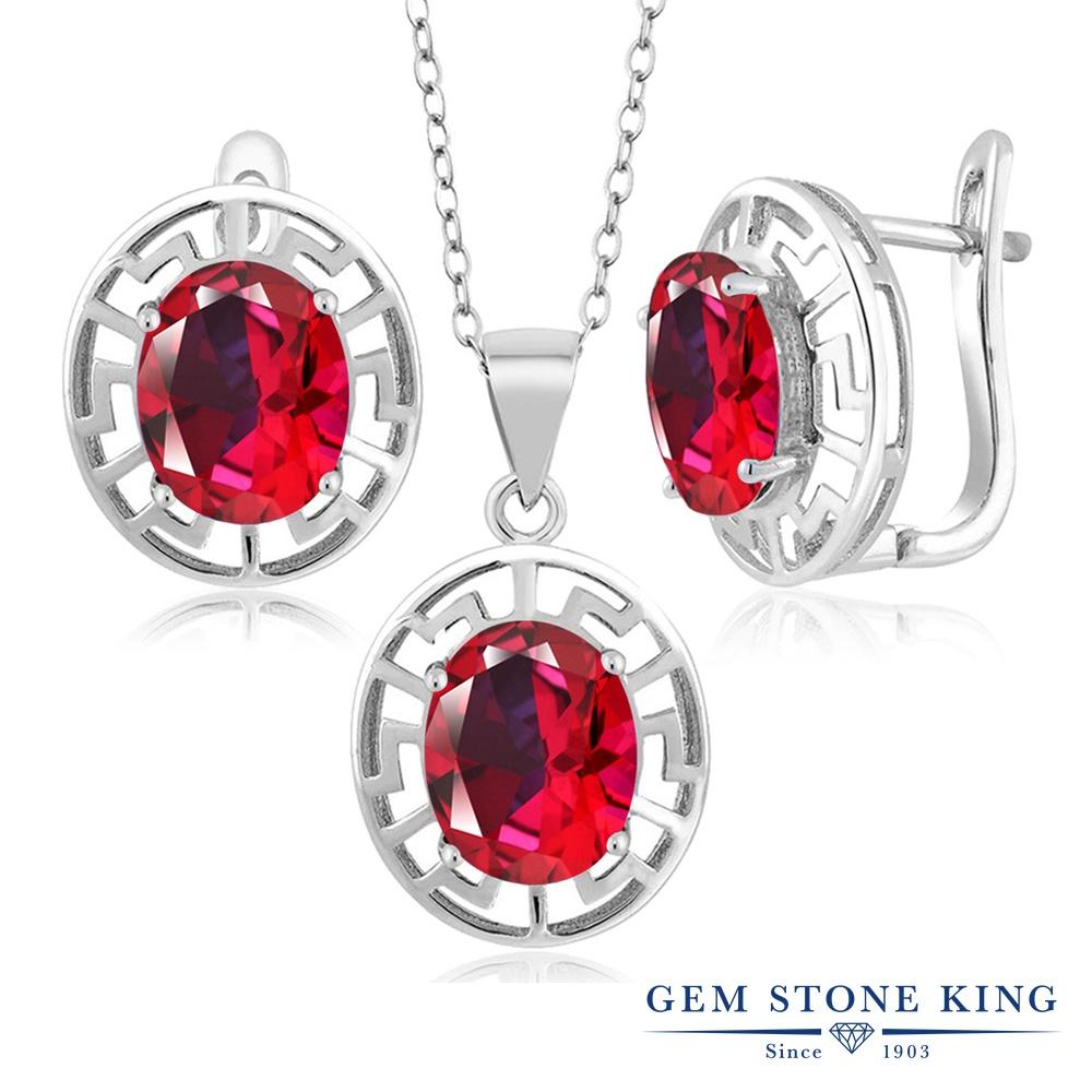 Gem Stone King 9カラット 天然石 レッドトパーズ (スワロフスキー 天然石シリーズ) シルバー925 ペンダント&ピアスセット レディース 大粒 シンプル フープ 天然石 金属アレルギー対応 誕生日プレゼント