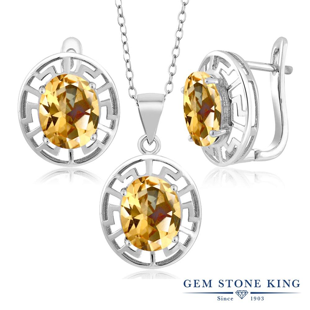 Gem Stone King 9カラット 天然石 トパーズ ハニースワロフスキー シルバー925 ペンダント&ピアスセット レディース 大粒 シンプル フープ 天然石 金属アレルギー対応 誕生日プレゼント