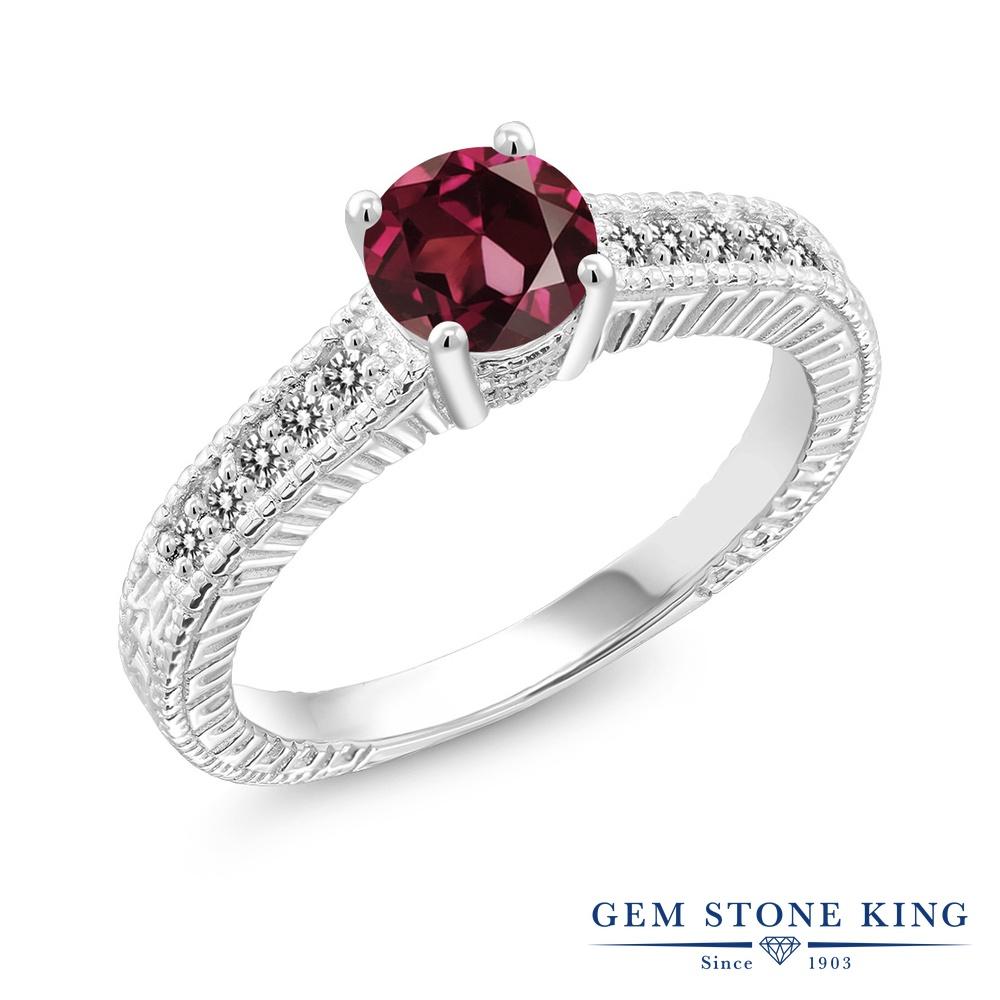 Gem Stone King 1.17カラット 天然 ロードライトガーネット 天然 ダイヤモンド シルバー925 指輪 リング レディース 大粒 マルチストーン 天然石 金属アレルギー対応 誕生日プレゼント