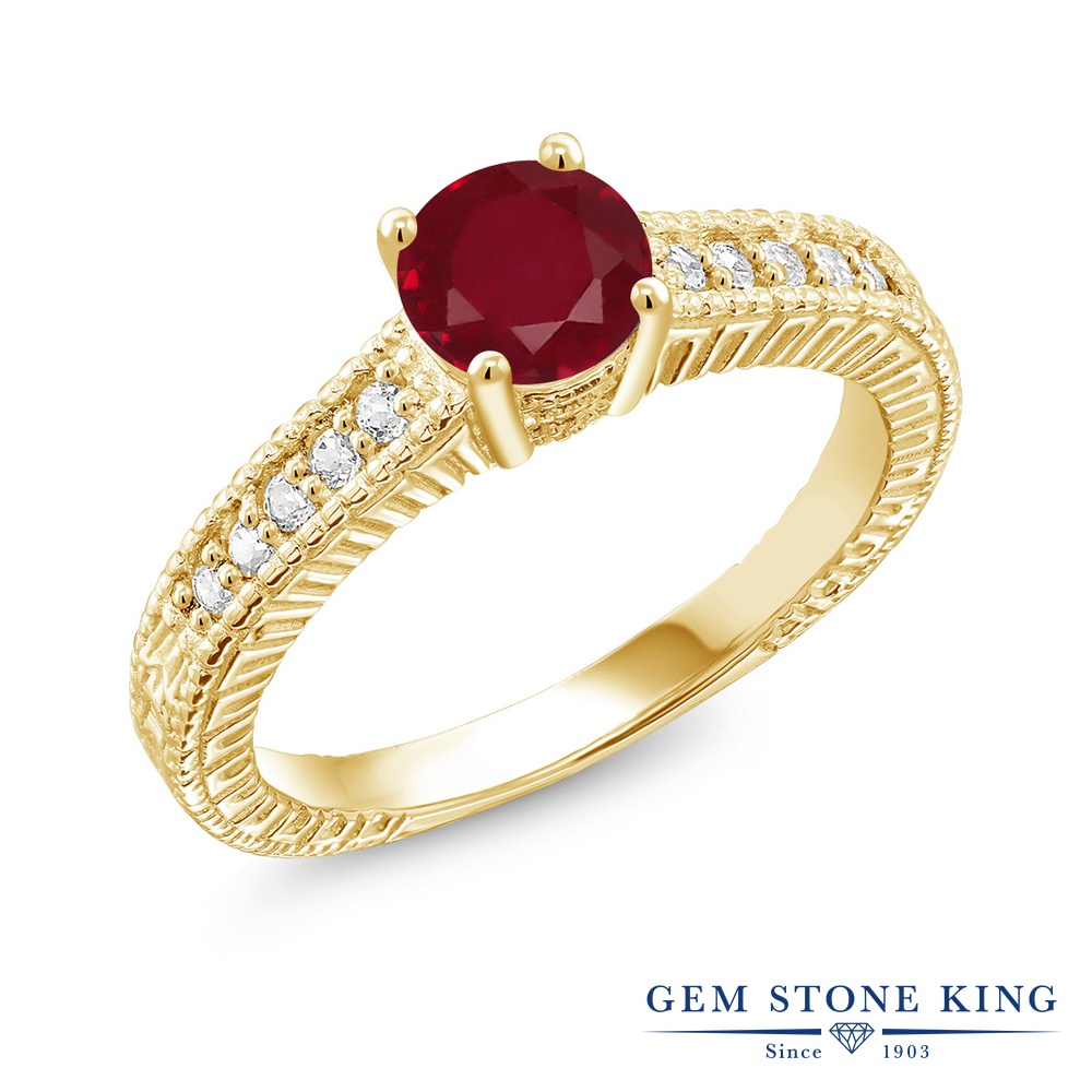 Gem Stone King 1.15カラット 天然 ルビー 合成ホワイトサファイア (ダイヤのような無色透明) シルバー925 イエローゴールドコーティング 指輪 リング レディース 大粒 マルチストーン 天然石 7月 誕生石 金属アレルギー対応 誕生日プレゼント