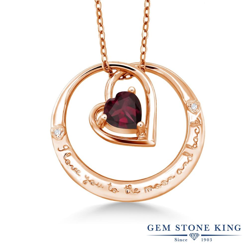 Gem Stone King 0.73カラット 天然ロードライトガーネット シルバー 925 ローズゴールドコーティング 天然ダイヤモンド ネックレス ペンダント レディース シンプル 天然石 誕生日プレゼント