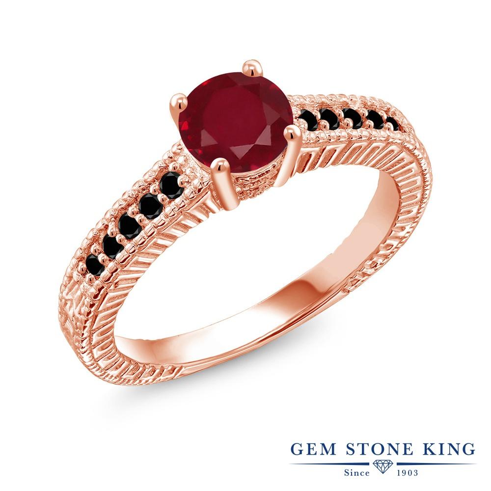 Gem Stone King 1.17カラット 天然 ルビー 天然ブラックダイヤモンド シルバー925 ピンクゴールドコーティング 指輪 リング レディース 大粒 マルチストーン 天然石 7月 誕生石 金属アレルギー対応 誕生日プレゼント