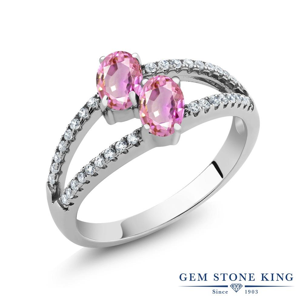 Gem Stone King 1.51カラット 天然 ピンクサファイア シルバー925 指輪 リング レディース ダブルストーン 天然石 9月 誕生石 金属アレルギー対応 誕生日プレゼント